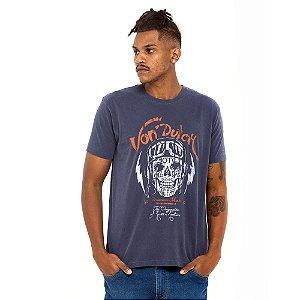 Camiseta Von Dutch estonada marinho caveira