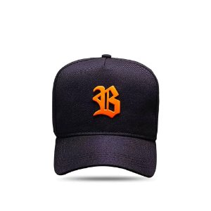 Boné Snapback All Black Metal Orange Flúor
