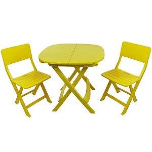 Kit 2x1 Pratika Amarelo - 1 Mesa e 2 Cadeiras Dobráveis - Ecomobili