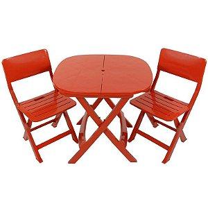 Kit 2x1 Pratika Vermelho - 1 Mesa e 2 Cadeiras Dobráveis - Ecomobili