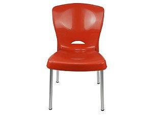 Cadeira Bistrô Lola com Pés em Alumínio - Vermelha - EcoMobili