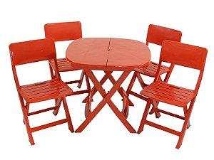 Kit 4 x1 Pratika Vermelho - 1 Mesa e 4 Cadeiras Dobráveis - Ecomobili