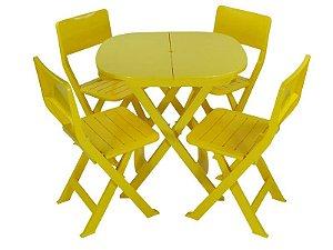 Kit 4 x1 Pratika Amarelo - 1 Mesa e 4 Cadeiras Dobráveis - Ecomobili