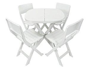 Kit 4 x1 Pratika Branco - 1 Mesa e 4 Cadeiras Dobráveis - Ecomobili