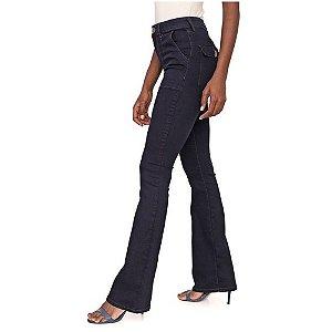 Calça Jeans Lez a Lez Flare Pespontos Azul