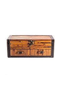 Baú madeira com duas gavetas