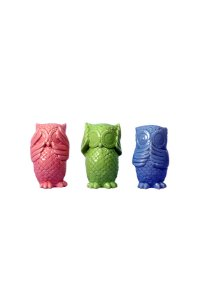 Trio Corujas de cerâmica