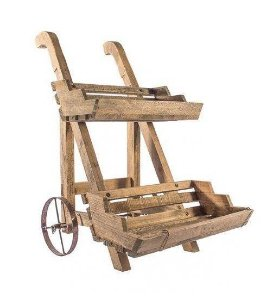 Carrinho madeira 2 bandejas