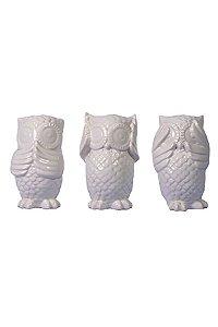 Trio de corujas porcelana branca