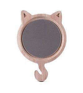 Gato madeira com espelho