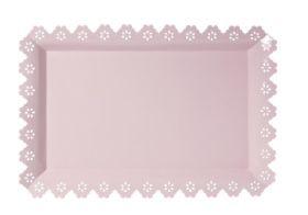 Bandeja retangular metal rosa P