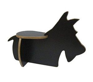Banquinho madeira cachorro preto