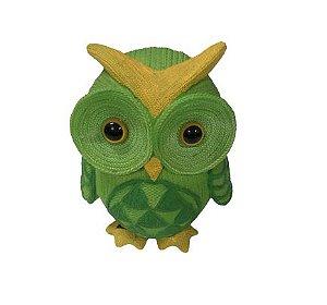 Coruja textura crochê verde
