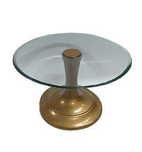 Prato doce ferro e vidro dourado G