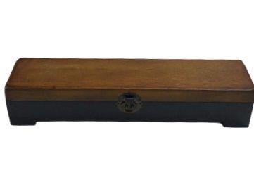 Caixa longa baú preta e madeira G