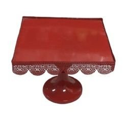 Prato doce quadrado metal vermelho G