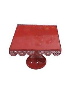 Prato doce quadrado metal vermelho M