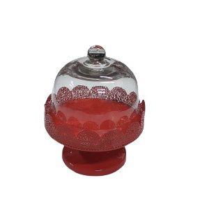 Prato doce metal vermelho com cúpula baixo