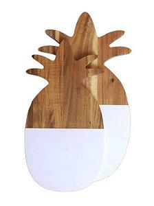 Tabua madeira e mármore abacaxi G
