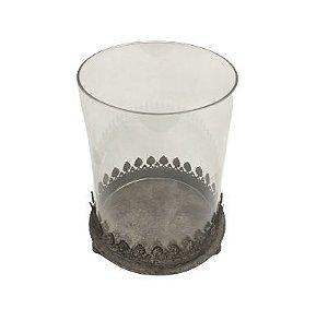 Porta vela vidro com base ferro M