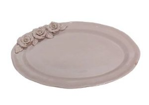 Travessa ceramica oval rosa G