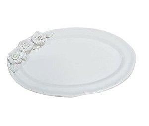 Travessa ceramica oval branca G