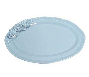 Travessa ceramica oval azul G