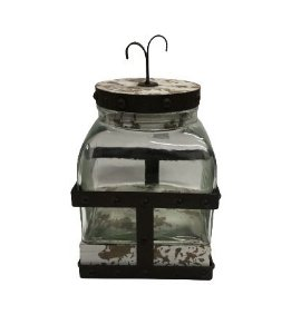 Pote vidro com tampa e base ferro M
