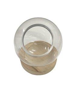 Vaso bowl com base de madeira