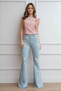 Calça Jeans Flare Destroyed - AZUL CLARO