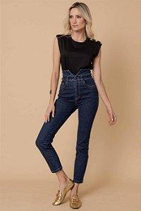 Calça Jeans Cós Duplo - AZUL ESCURO