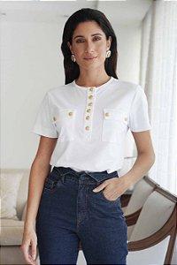 T-shirt Botões - OFF WHITE