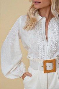 Camisa De Cambraia De Linho Olivia - OFF WHITE