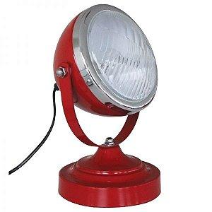 Luminária de Mesa Farol Retro Vermelha