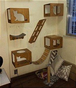 Playground Para Gato, nicho, escada, prateleira 1/2 Lua E Ponte