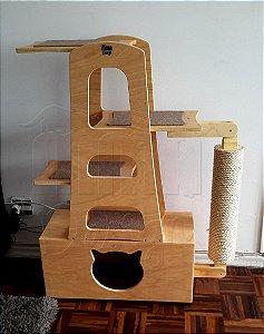 Torre Luna Com Nicho, Prateleiras e Arranhador Para Gatos