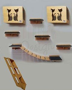 Kit com 02 nichos, 04 prateleiras, 01 passarela com ponte de corda e 01 escada