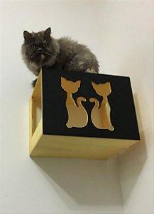Nicho casinha para gato com frente preta ou branca