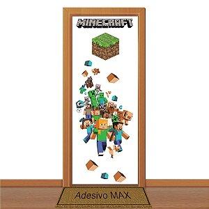 Adesivo de Porta - Mundo Minecraft ( Fundo Transparente )