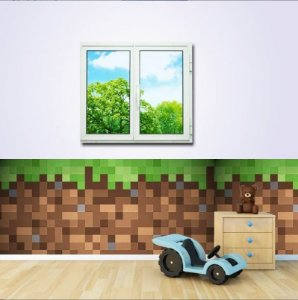 Faixa para Quarto Minecraft Tijolos (1m x 60cm)