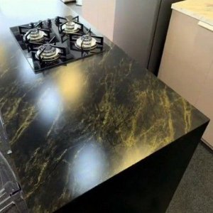 Adesivo Gold Pedras Mármore Golden Black