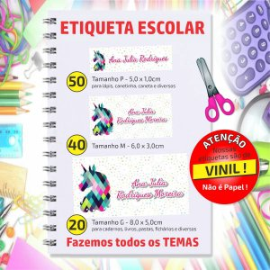 KIT ETIQUETA ESCOLAR PERSONALIZADA 03 - TOP