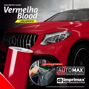 Adesivo Gold Protect Gloss Vermelho Blood (Rolo 5m x 1,40m)