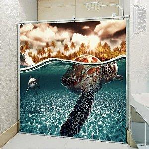 Adesivo Box - Tartaruga Cuidado com o Tubarão