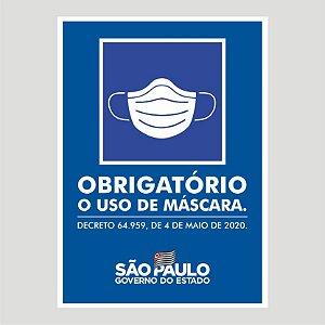 Adesivo Uso Obrigatório de Máscara Governo  SP