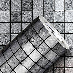 Adesivo Pastilha Dark Inox (Rolo 1,22m x 50cm)