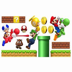 Adesivo Recortado - Cenário Super Mario Bros (2m x 1m)