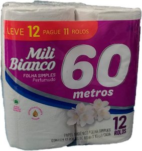 Papel Higiênico Mili Folha Simples 60m c/12 rolos