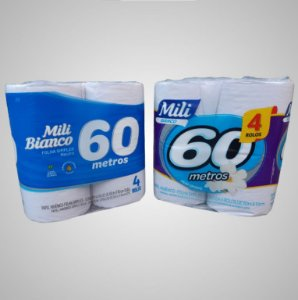 Papel Higiênico Mili Folha Simples 60m c/4 rolos