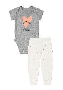 Conjunto Longo Bebê Com Body E Calça Hering Kids - Cinza